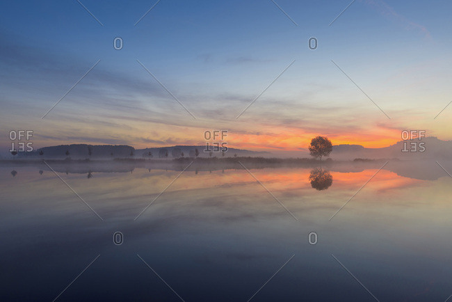 Landscape Reflecting in Lake at Dawn, Drei Gleichen, Ilm District, Thuringia, Germany