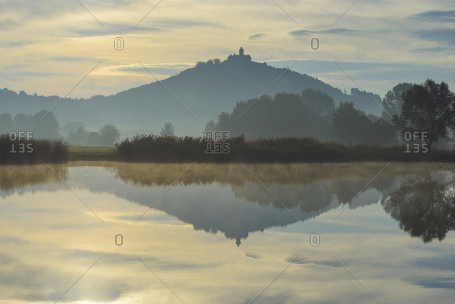 Wachsenburg Castle at Sunrise Reflecting in Lake, Drei Gleichen, Ilm District, Thuringia, Germany