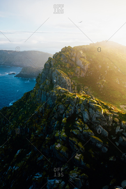 Epic view of creek in mountain landscape at sunset. Cies Islands