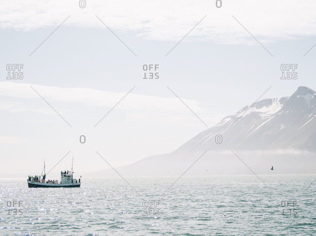 Iceland - June 3, 2016: A boat in the sea sailing near the foggy rocks.