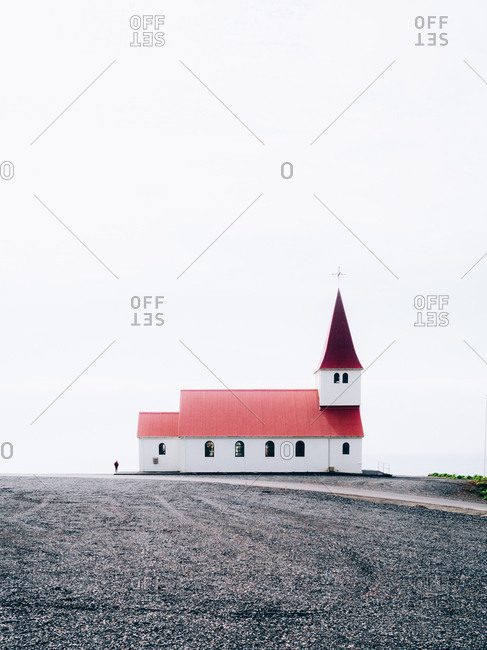White church with red roof in Iceland