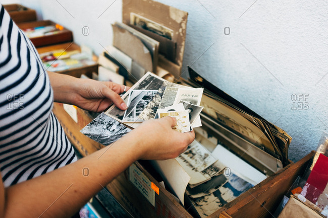 Japan - September 20, 2015: Person holding vintage photos