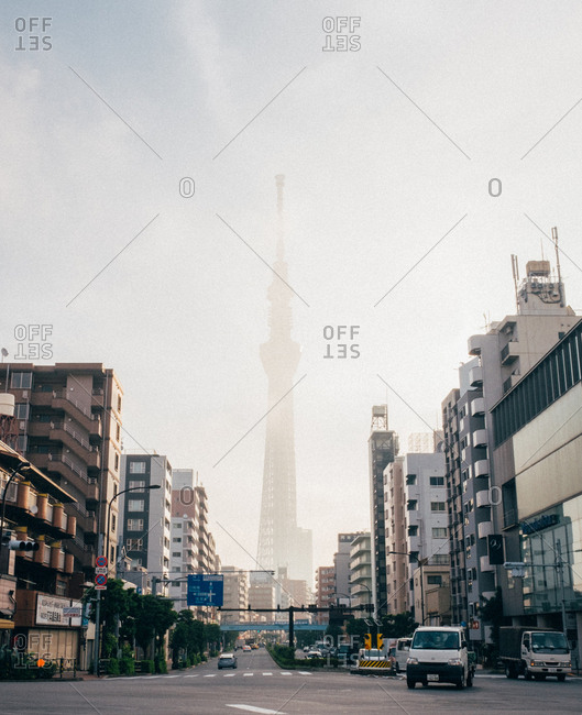 Japan - September 24, 2015: View to the huge tower mist in the city .