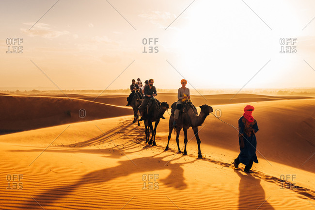 Morocco - October 27, 2015: Camelcade crosses sand dune at desert