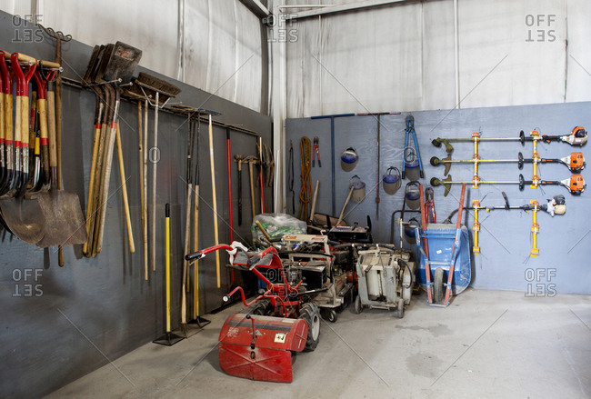 Tools stacked in warehouse