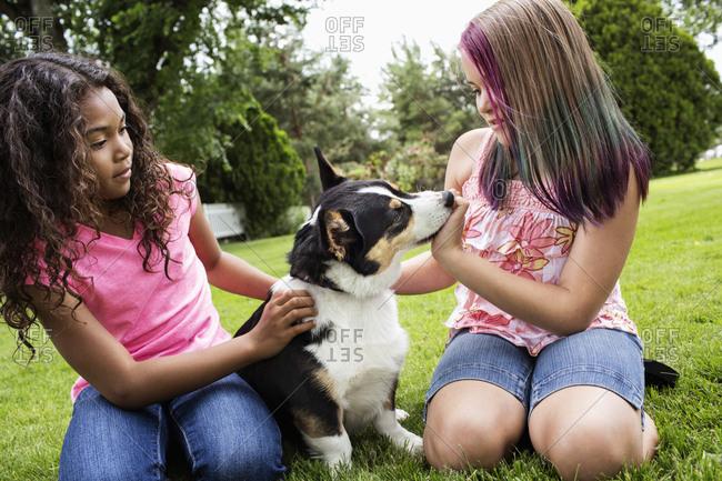 Girls petting dog in backyard