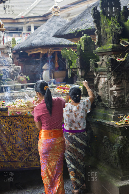 Women preparing Hindu celebration, Ubud, Bali, Indonesia