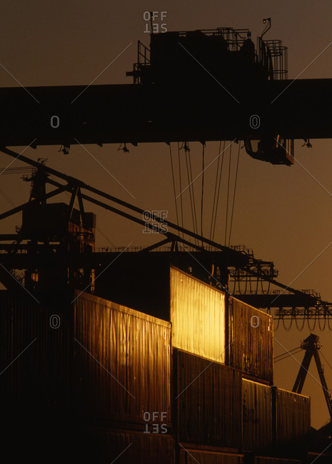 Cranes over cargo containers, Port of Long Beach, California, United States
