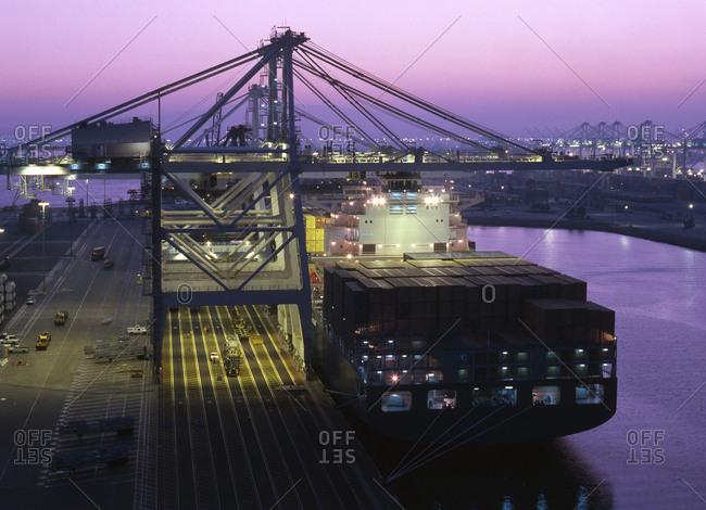 Cranes over container ship, Port of Los Angeles, California, United States