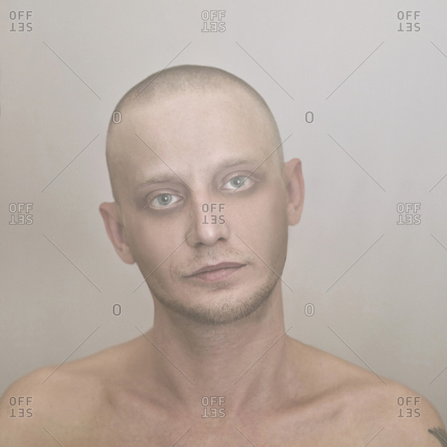 Close up of Caucasian man with shaved-head