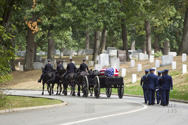 Arlington, VA, USA - September 28, 2010: Carriage pulling casket to military cemetery