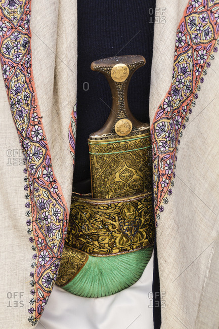 Ornate Yemeni jimbiya dagger with decorative cloth
