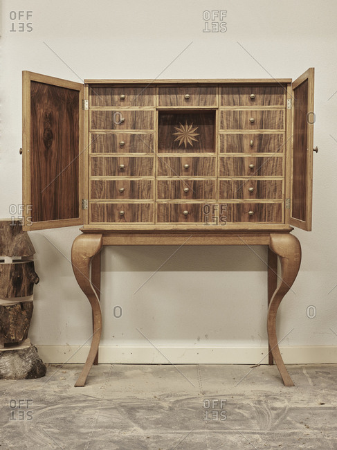 Dutch cabinet handmade from recycled wood and inspired by cabinets from the 17th century