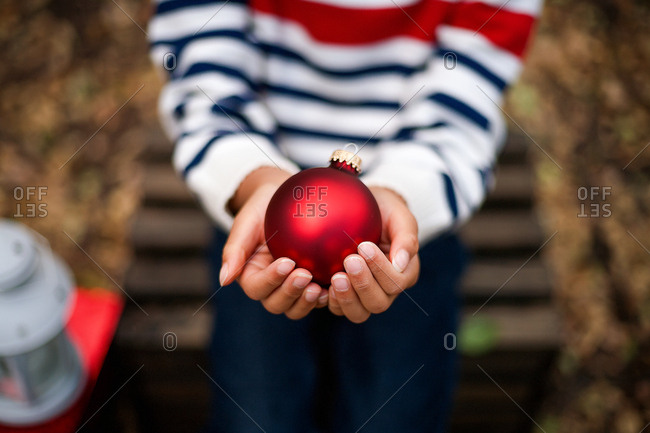 Ornamental bulb in a girl's hands
