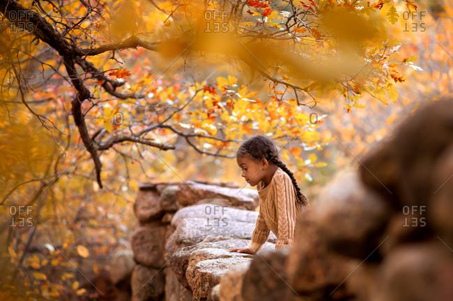 Girl at rock wall in fall setting