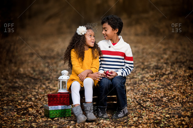 Kids in outdoor Christmas setting