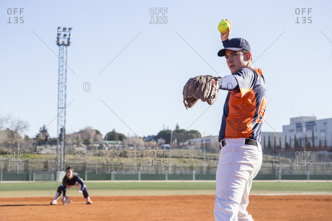 Pitcher ready to throw the ball during a baseball game