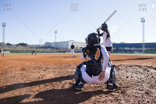 Baseball players during a baseball game