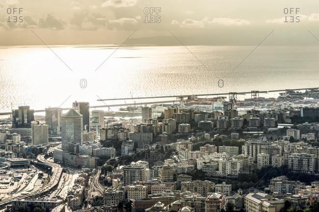 Italy- Genoa- cityscape with Ligurian Sea