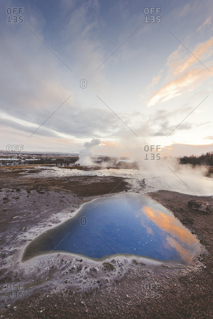 Iceland- Haukadalur valley- Geothermal site with hot spring