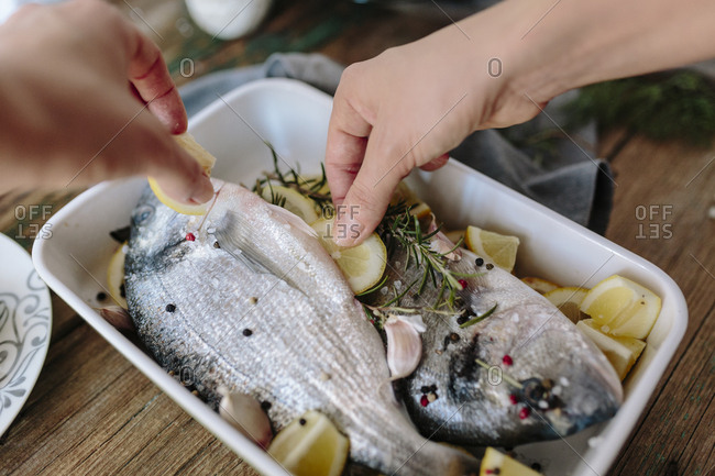 Woman preparing Sea Bream in baking dish with fresh lemon- rosemary and pepper