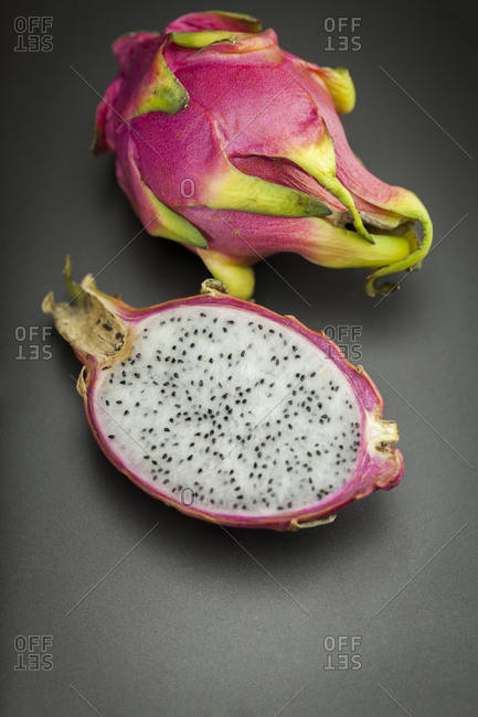 Whole and a half dragon fruit