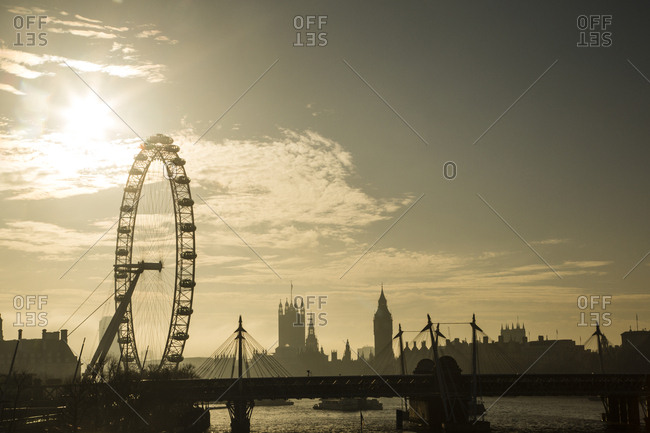 UK- London- skyline with London Eye and Big Ben in backlight