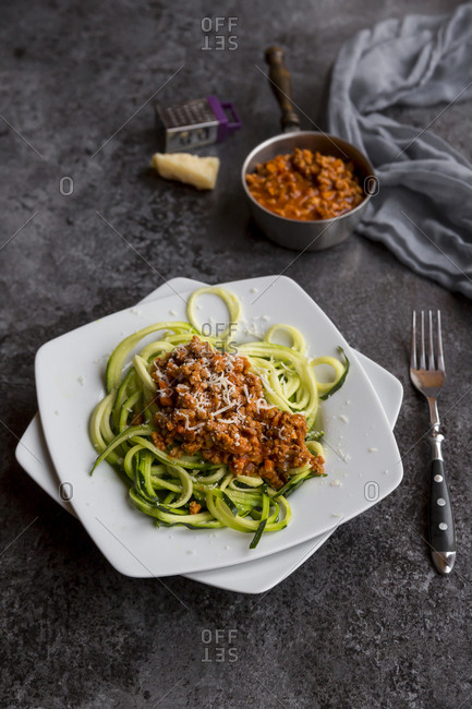 Zoodles with vegetarian bolognese sauce and parmesan