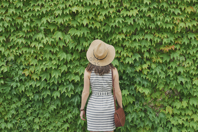 Portrait Beautiful travel woman from behind concept green ivy plants