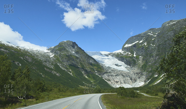Glacier on road trip journey Majestic beautiful snow landscape exploration