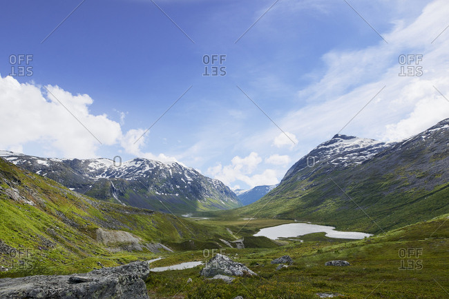 Majestic glacial valley view beautiful landscape in Norway