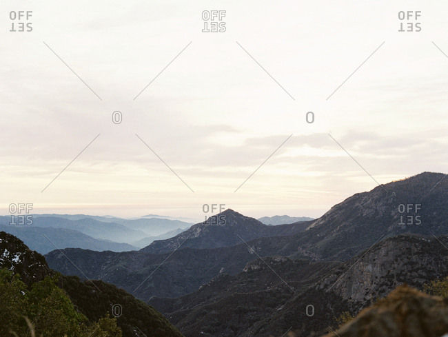Mountain ridges and peaks at sunrise