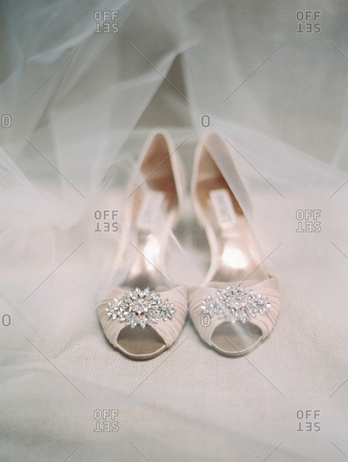 Open-toe formal shoes and sheer white gauze