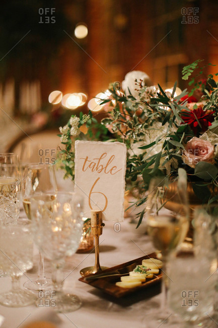 Table number on an elegant reception table