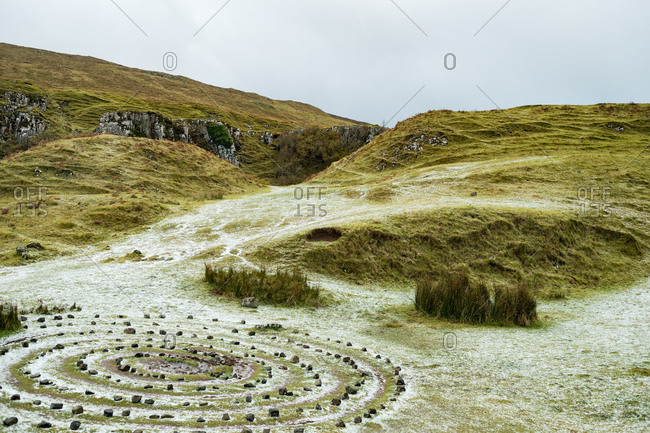 Spiral in grass at Faerie Glen, Isle of Skye, Scotland