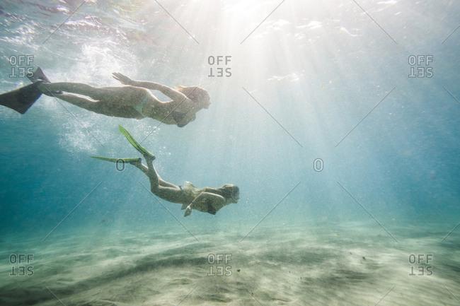 Female friends swimming undersea