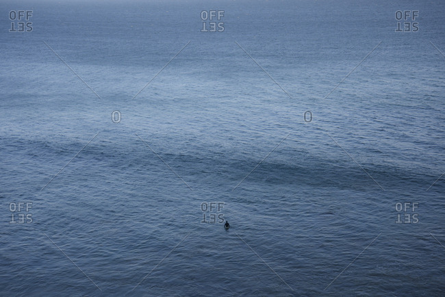 High angle view of person standing in sea