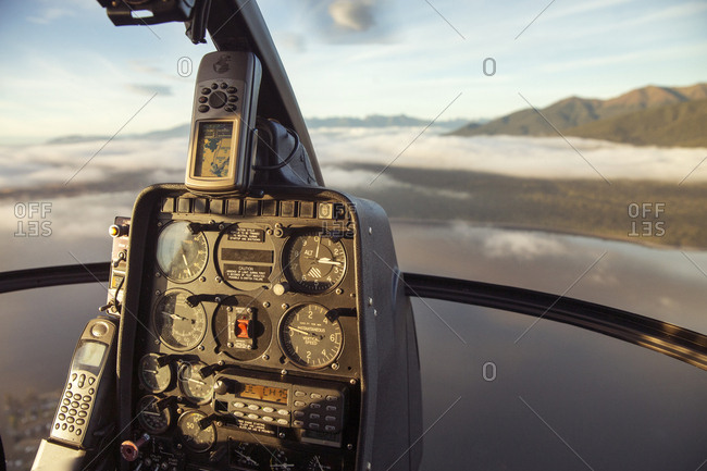 Close-up of control panel of helicopter