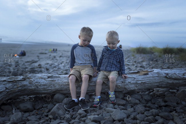 Happy siblings sitting on fallen tree trunk against sky