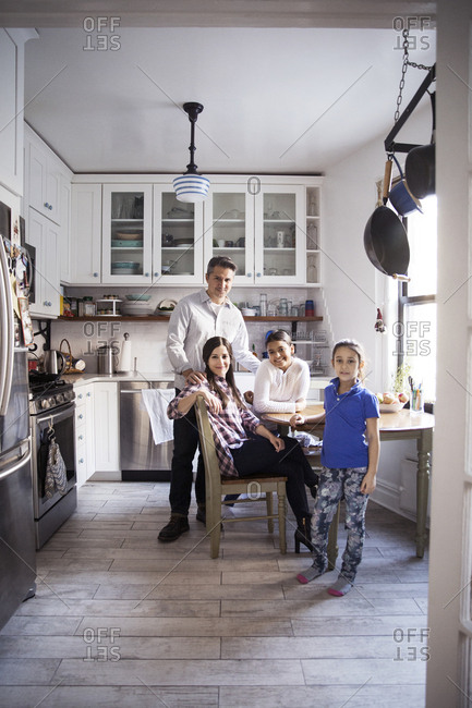 Portrait of family in kitchen at home