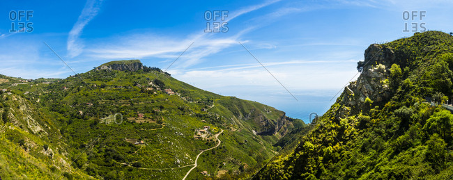 Italy- Sicily- Taormina- view above the mountains