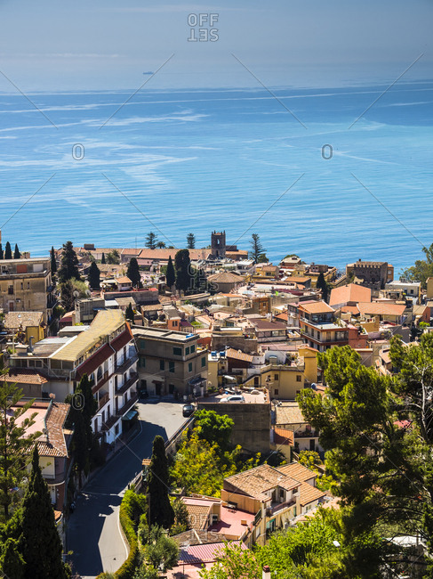 Italy- Sicily- Castelmola- view above Taormina to the bay of Giardini Naxos