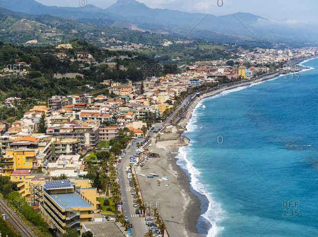 Italy- Sicily- Santa Margherita- view to the coast of Sant Alessio Sculo and Santa Teresa di Riva from above