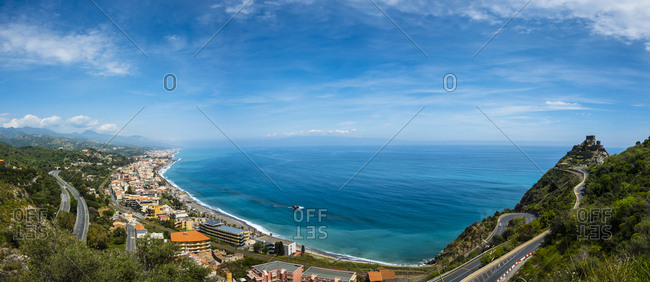Italy- Sicily- Sant'Alessio Village- view to the coast of Sant Alessio Sculo from above