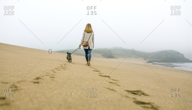 Woman walking with dog on the beach in winter