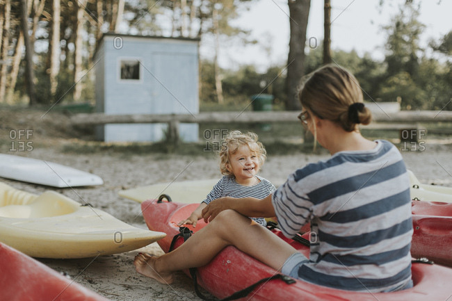 Netherlands- Schiermonnikoog- mother with little daughter in a boat