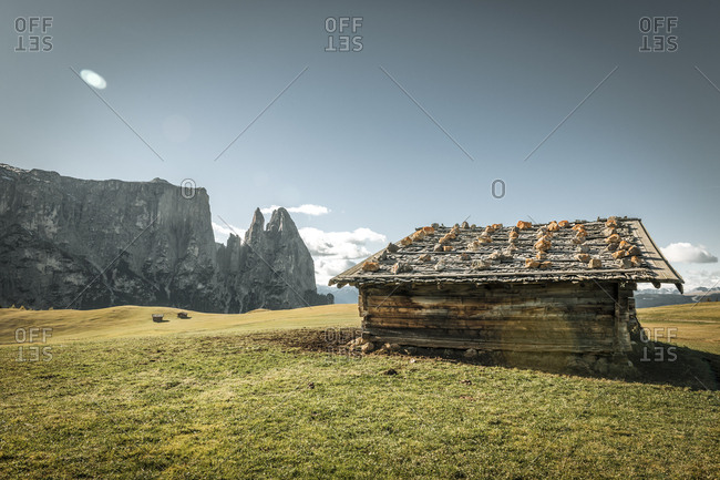 Italy- South Tyrol- Seiser Alm- barn and Schlern