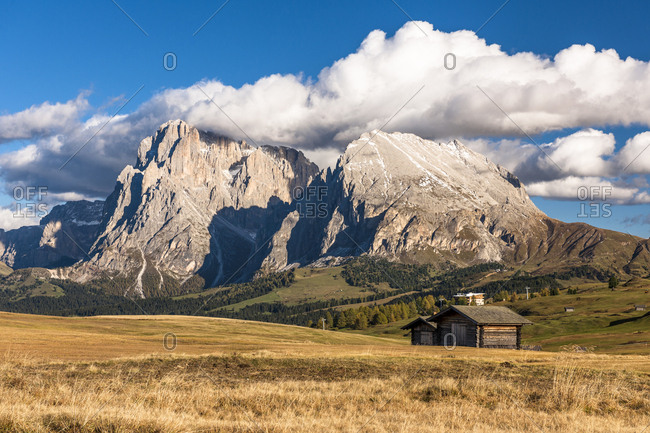 Italy- South Tyrol- Seiser Alm- Langkofel and Plattkofel