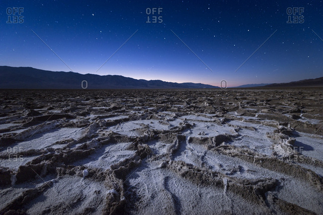 USA- California- Death Valley- Badwater Basin at twilight