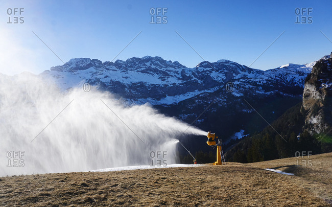 Switzerland- Portes du Soleil- Champery- active snow cannon